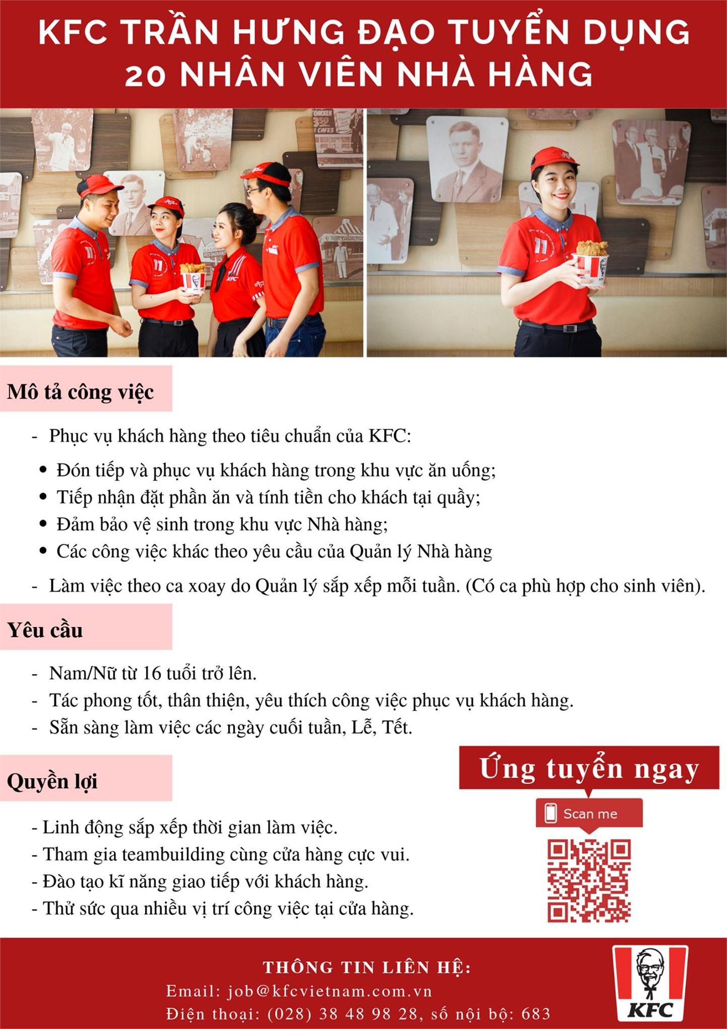 Thông báo tuyển dụng của KFC Ninh Bình