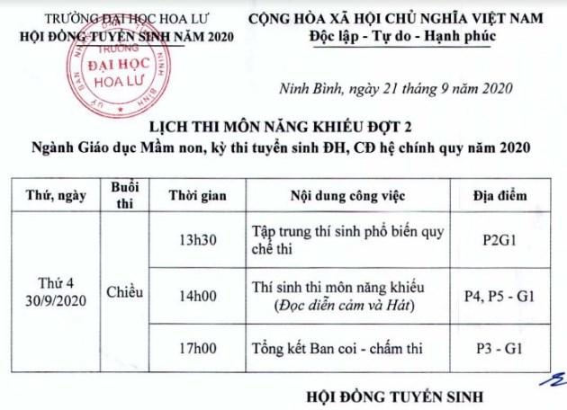 LỊCH THI NĂNG KHIẾU ĐỢT 2 - Ngành GDMN, kỳ thi tuyển sinh ĐH, CĐ hệ chính quy năm 2020